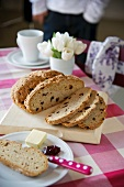 Sweet soda bread with raisins, sliced