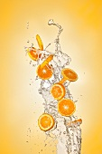Orange slices and a stream of water