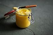 A jar of ghee (Indian clarified butter)
