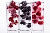 Three glasses of water with various berry ice cubes