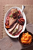 Pork fillet with roasted damsons and mashed squash