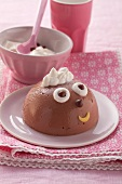 Chocolate mousse with a face