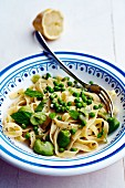 Tagliatelle with broad beans, peas and mint