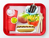 School Lunch Tray with Hot Dog, Salad, Apple and Popsicle; White Background