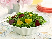 Arugula Salad with Heart Shape Red and Golden Beets