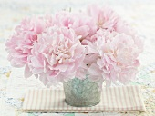 Pretty Pink Peonies in a Vase on a Table
