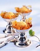 Mandarin ice cream with Mandarin compote and almonds