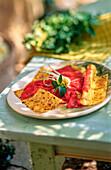 Beef carpaccio with lasagne sheets