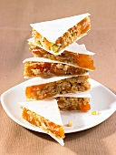 Wafer bars made with apricots, walnuts and pistachios