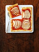An apple and pear tart seen from above