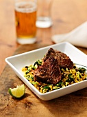 Lamb chops on a bed of rice