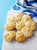 Freshly baked scones on a wire rack