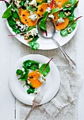 Chard salad with oranges, blue cheese and walnuts