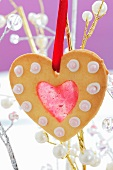 A heart-shaped Christmas biscuit with jam hanging on a twig