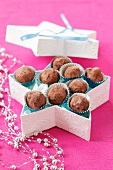 Chocolate truffles in a star-shaped box