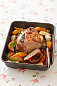 Pork collar with apples and rosemary