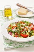 A mixed leaf salad with peppers, red onions and Parmesan cheese