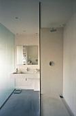 Modernes Bad mit Glastrennscheibe vor Dusche