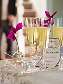 Sparkling wine in glasses at New-Year's Eve party
