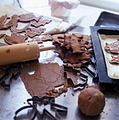 Gingerbread dough and cut out biscuits