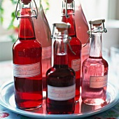 Bottles of homemade fruit juice