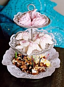 Meringues and confectionery on a cake stand