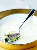 Fischsuppe mit Suppeneinlage auf Löffel