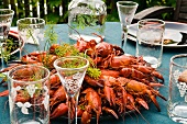 Crayfish on a table in a garden