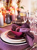 A festive purple place setting