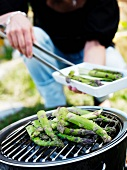 Asparagus being grilled