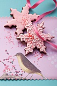 Christmas biscuits with pink icing