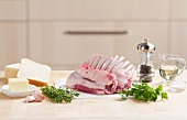 Ingredients for herb-crusted rack of lamb