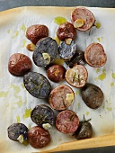 Roasted Purple and Red Potatoes Tossed with Olive Oil and Rosemary; From Skoloff Valley Farm in Pennsylvania