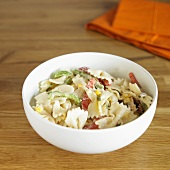 Bowl of Country Chicken Pasta Salad with Corn and Peppers