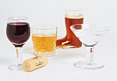 Mini Booze Glasses; Wine, Scotch, Beer, Vodka Martini; Wine Cork