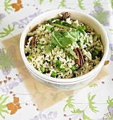 Brown Rice with Zucchini, Arugula, Walnuts and Peas; From Above