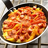 Piperrada (Basque Pepper Omelet) in a Skillet