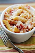 Individual Baked Penne with Tomatoes and Cheese; Fork