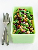 Three Bean Salad in a Jade Green Dish
