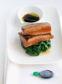 Soy Glazed Salmon on a Bed of Spinach