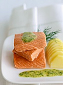 Steamed Salmon with Dill Sauce and Steamed Potatoes