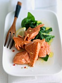 Pan Seared Salmon with Lemon Spinach