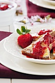 French Toast with Fresh Strawberry Jam and Confectioners Sugar