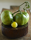 One Yellow and Two Green Heirloom Tomatoes; Two Big, One Small