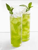 Crushed Mint Drinks in Tall Glasses