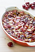 Cherry clafouti in a baking dish