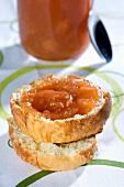 Peach jam on a slice of brioche