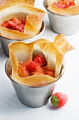 Puff pastry bowls with strawberry and rhubarb compote