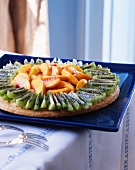 Fruit tart with kiwi and peach