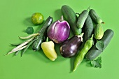 Still-life of summer vegetables with beans, aubergines, peppers and cucumbers